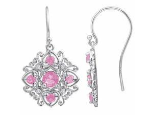 Ryan Jonathan Antique Style Pink Tourmaline and Diamond Dangle Earrings in 14K White Gold