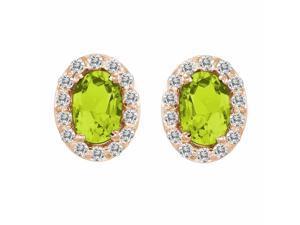 Ryan Jonathan Peridot and Diamond Earrings in 14K Rose Gold