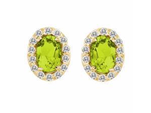 Ryan Jonathan Peridot and Diamond Earrings in 14K Yellow Gold