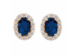 Ryan Jonathan Blue Sapphire and Diamond Earrings in 14K Rose Gold