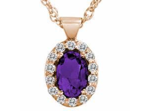 Ryan Jonathan Amethyst and Diamond Pendant w/18 Inch Chain in 14K Rose Gold