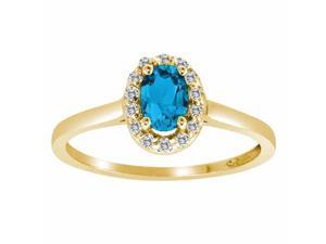 Ryan Jonathan Blue Topaz and Diamond Ring in 14K Yellow Gold
