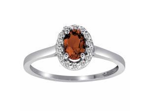 Ryan Jonathan Garnet and Diamond Ring in 14K White Gold