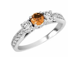 Ryan Jonathan Three Stone Diamond and Citrine Ring With Milgrain Shank in 14K White Gold
