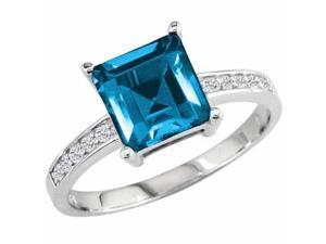 Ryan Jonathan Blue Topaz and Diamond Ring in 14K White Gold