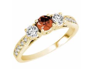 Ryan Jonathan Three Stone Diamond and Garnet Ring With Milgrain Shank in 14K Yellow Gold