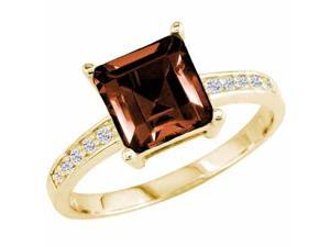 Ryan Jonathan Garnet and Diamond Ring in 14K Yellow Gold