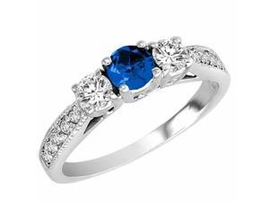Ryan Jonathan Three Stone Diamond and Blue Sapphire Ring With Milgrain Shank in 14K White Gold