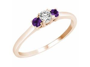 Ryan Jonathan Three Stone Diamond and Amethyst Ring in 14K Rose Gold