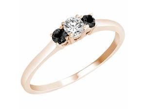 Ryan Jonathan Three Stone White and Black Diamond Ring in 14K Rose Gold