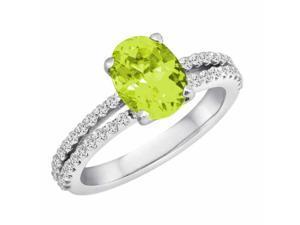 Ryan Jonathan Split Shank Peridot and Diamond Ring in 14K White Gold