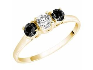 Ryan Jonathan Three Stone White and Black Diamond Ring in 14K Yellow Gold