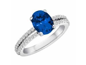 Ryan Jonathan Split Shank Blue Sapphire and Diamond Ring in 14K White Gold