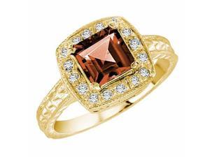 Ryan Jonathan Vintage Style Garnet and Diamond Ring in 14K Yellow Gold