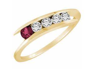 Ryan Jonathan 5 Stone Graduated Diamond and Ruby Ring in 14K Yellow Gold