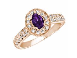 Ryan Jonathan Amethyst and Diamond Ring in 14K Rose Gold