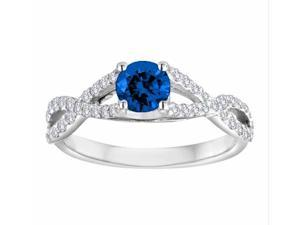 Ryan Jonathan Bypass Blue Sapphire and Diamond Ring in 14K White Gold