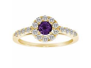 Ryan Jonathan Halo Amethyst and Diamond Ring in 14K Yellow Gold