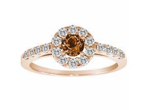 Ryan Jonathan Halo Citrine and Diamond Ring in 14K Rose Gold