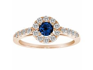 Ryan Jonathan Halo Blue Sapphire and Diamond Ring in 14K Rose Gold