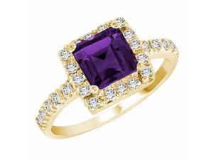 Ryan Jonathan Amethyst and Diamond Ring in 14K Yellow Gold