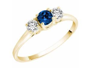 Ryan Jonathan Three Stone Blue Sapphire and Diamond Ring in 14K Yellow Gold