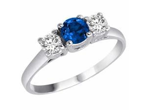 Ryan Jonathan Three Stone Blue Sapphire and Diamond Ring in 14K White Gold
