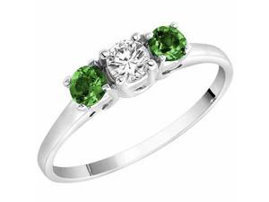 Ryan Jonathan Three Stone Diamond and Emerald Ring in 14K White Gold