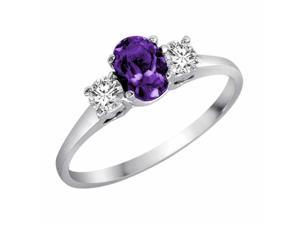 Ryan Jonathan Oval Amethyst and Diamond Ring in 14K White Gold