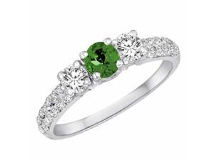 Ryan Jonathan Three Stone Diamond and Emerald Ring With Double Row Shank in 14K White Gold
