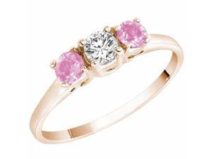 Ryan Jonathan Three Stone Diamond and Pink Tourmaline Ring in 14K Rose Gold