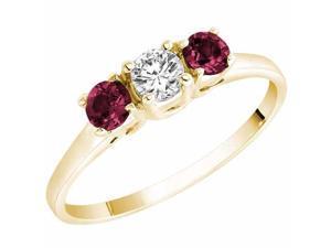 Ryan Jonathan Three Stone Diamond and Ruby Ring in 14K Yellow Gold