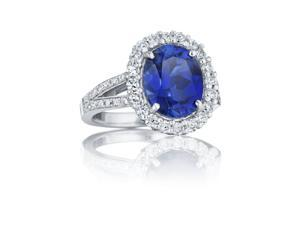 Ryan Jonathan Oval Blue Sapphire and Diamond Ring in Platinum (5.70 cttw)