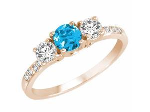 Ryan Jonathan Three Stone Diamond and Blue Topaz Ring With Shank in 14K Rose Gold