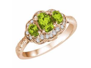Ryan Jonathan Vintage Style Peridot and Diamond Ring in 14K Rose Gold