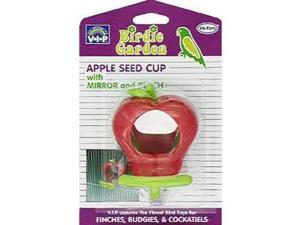 Vo-Toys Apple Shape Seed Cup with Mirror and Perch Bird Toy