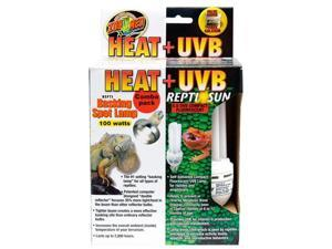 Zoo Med FSC-1 Heat and UVB Basking Spot Lamp and Repti Sun Fluorescent Combo Pack