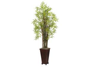 Nearly Natural 5.5 Grass Bamboo Plant w/Decorative Planter