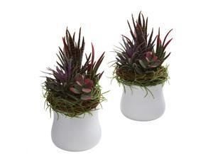 Nearly Natural Mixed Succulent w/White Planter (Set of 2)