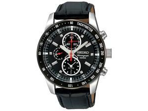 Seiko SNAE35 Mens Watch Stainless Steel Quartz Alarm Chronograph Black Dial Bezel Strap