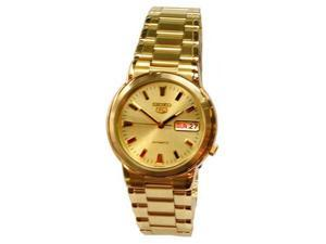 Seiko SNXE92 Mens Watch Seiko 5 Automatic Gold Tone Dress Watch Gold Dial