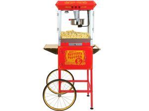FunTime Full Size Carnival Style 8Oz Hot Oil Popcorn Machine w/ Cart (Red)