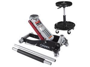 Sunex 6603ASJPR 3-Ton Rapid Rise Ton Aluminum Floor Jack w/ Adjustable Shop Seat