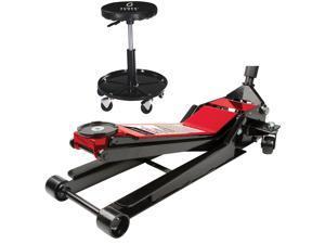 Sunex 6602LP8509 2-Ton Ultra-Low Lowrider Floor Jack w/ Adjustable Shop Seat