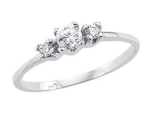 Size- 10.5 - Solid 14k White Gold Three Stone Ladies CZ Cubic Zirconia Engagement Ring Round Cut 0.25 ct
