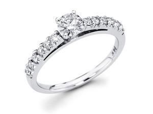 14k White Gold Solitaire Round Diamond Engagement Ring w/ Channel Set Diamond Side Stones (3/4 cttw, 2/5 ct Center, G-H ...