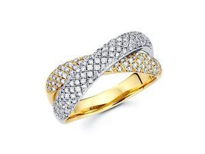 14k Two Tone Gold Diamond Cross Over Ring Band .86 ct (G-H Color, SI2 Clarity)