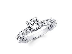 3.40ct Diamond 18k White Gold Engagement Wedding Ring Band Set-1ct Center Stone Not Included