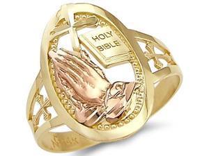 14k Yellow and Rose Gold Cross Praying Hands Bible Ring