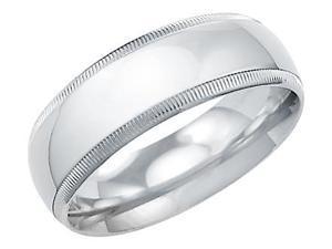 14k Solid White Gold Plain Milgrain Wedding Ring Band 7MM - Size11 - 7.8 Grams